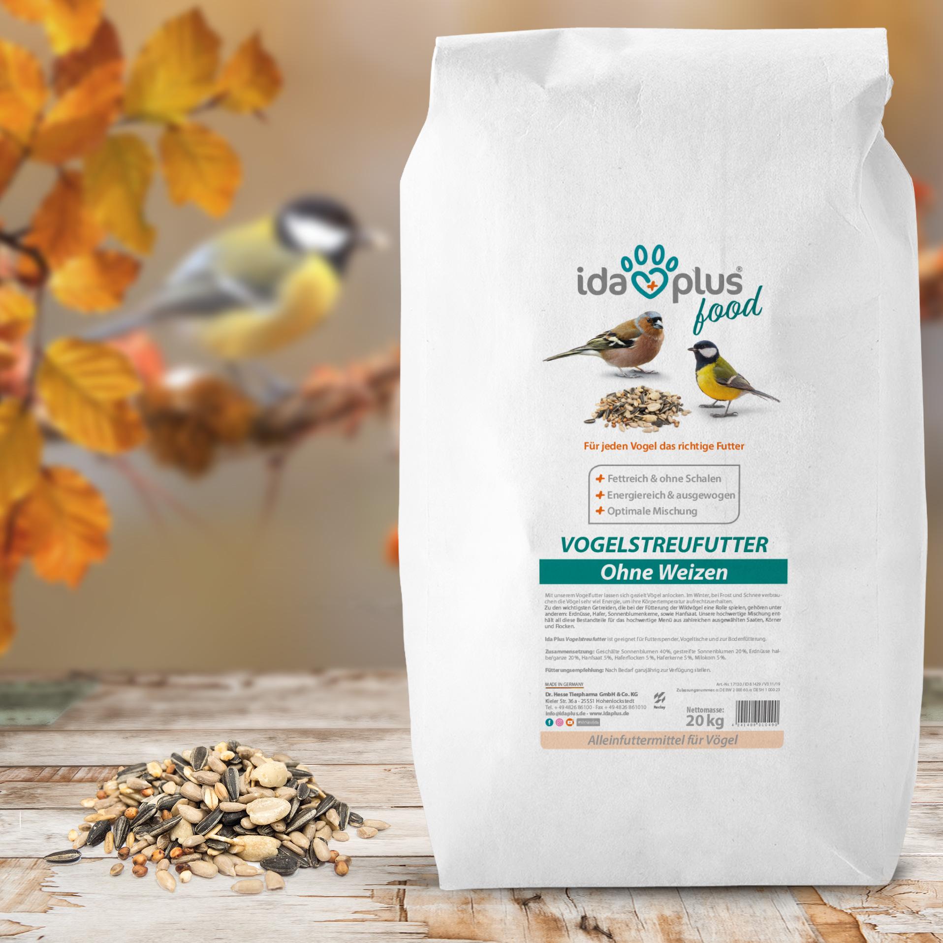 Vogelstreufutter ohne Weizen für Wildvögel - Ganzjahres Vogelfutter - 20 Kg