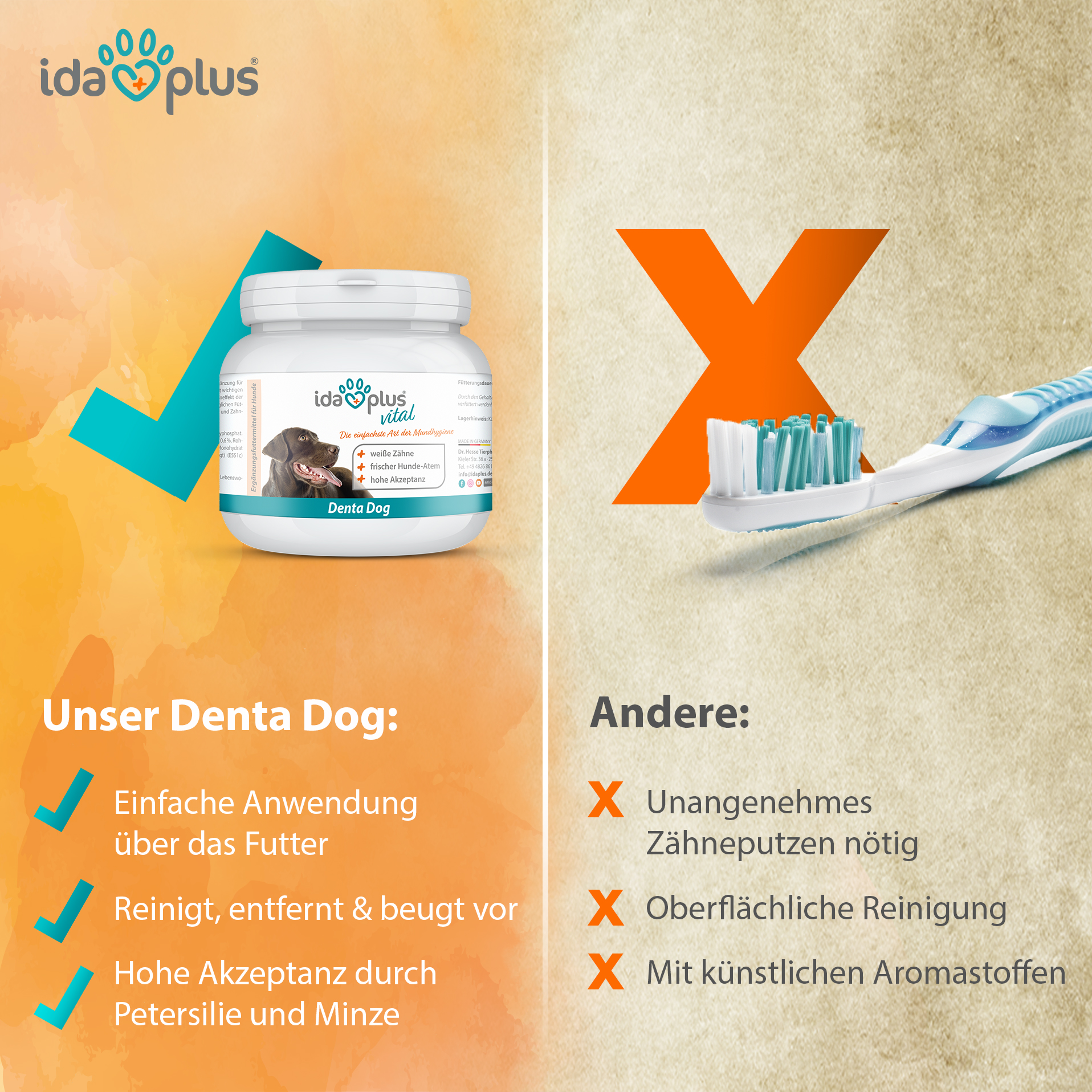 Denta Dog - stoppt Hunde Mundgeruch & sorgt für frischem Hunde-Atem - 100 g