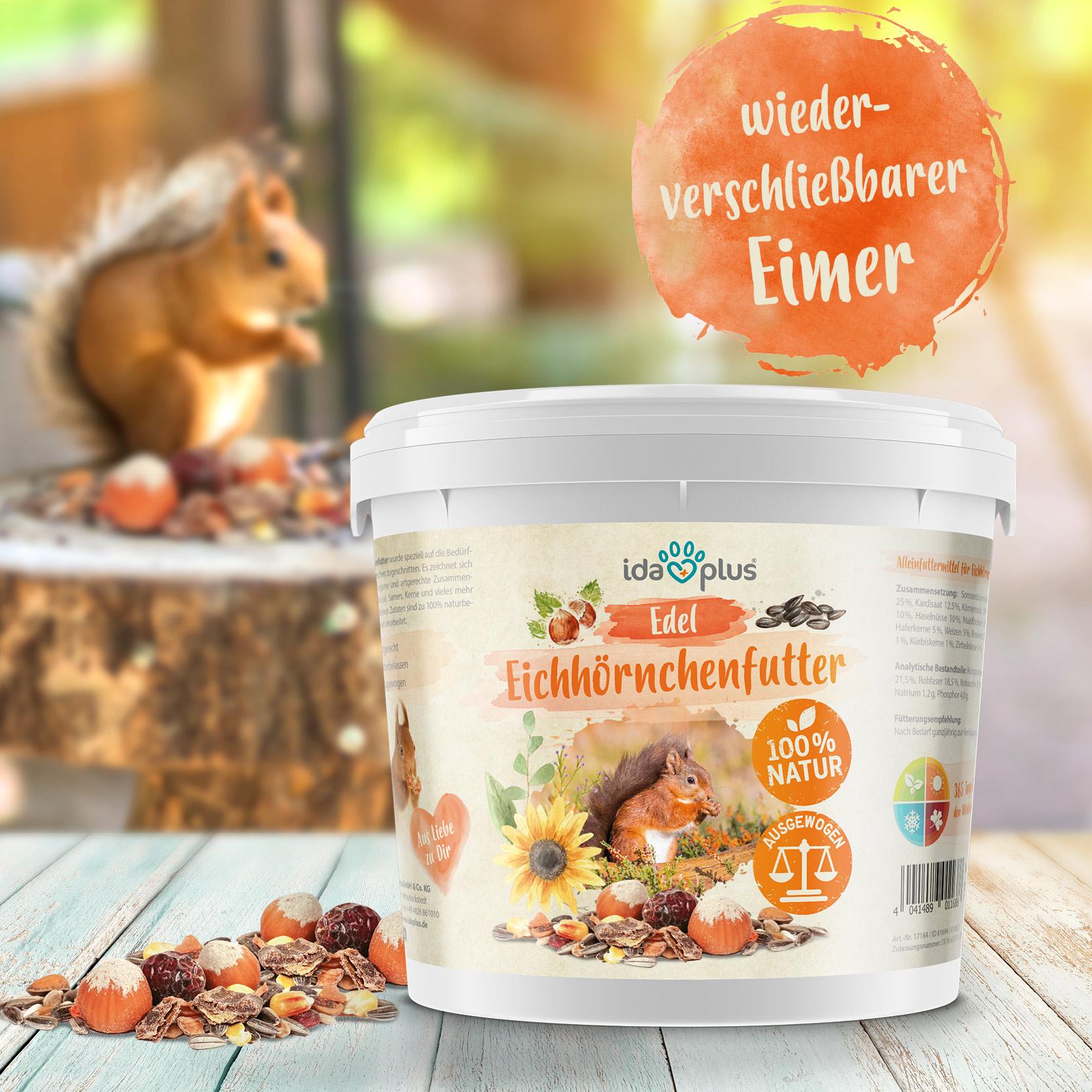 Edel Eichhörnchenfutter - artgerechtes Ganzjahres Futter im praktischen Eimer - 1kg