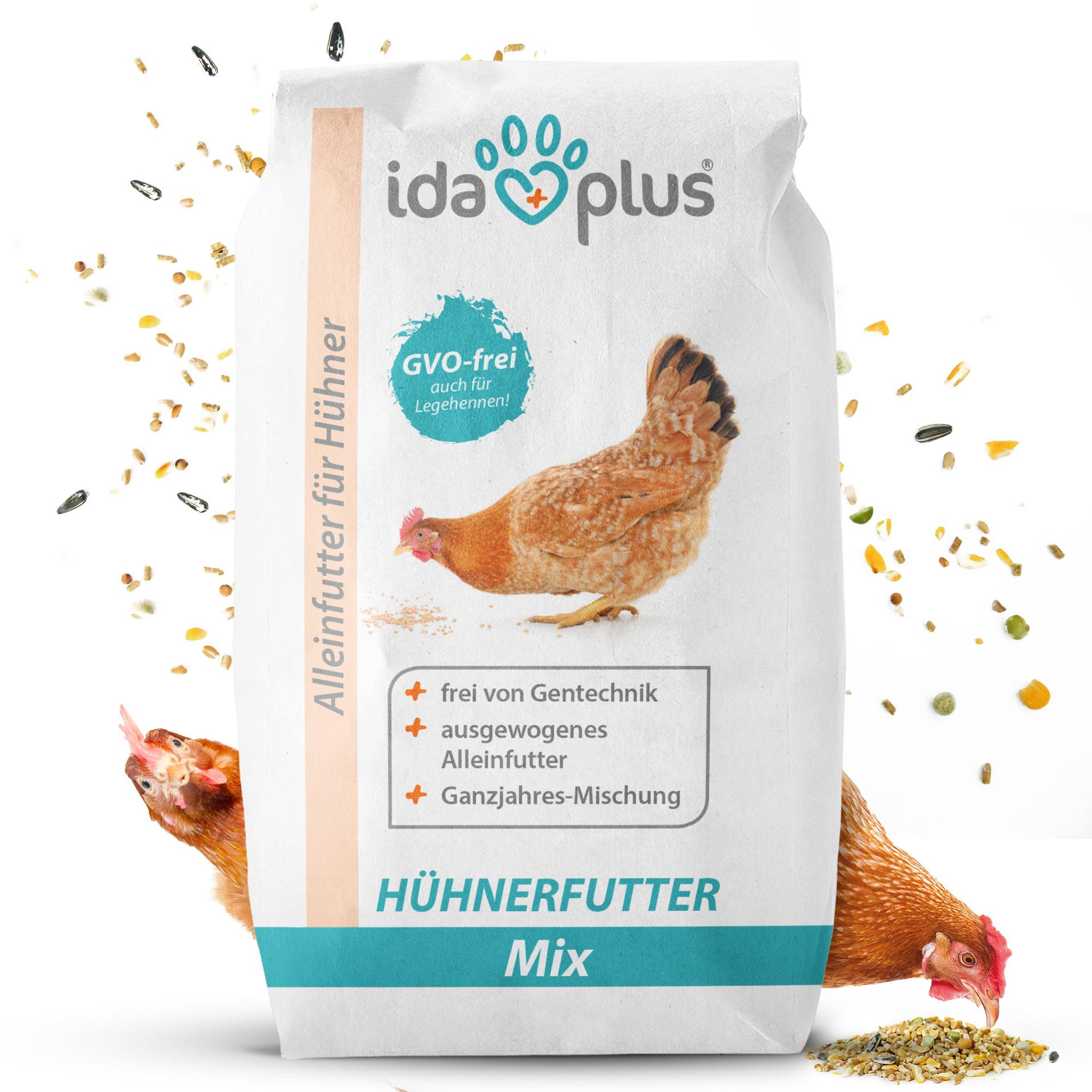 Hühnerfutter Mix - Ausgewogenes Alleinfutter - Ganzjahresmischung, GVO-frei - 25Kg