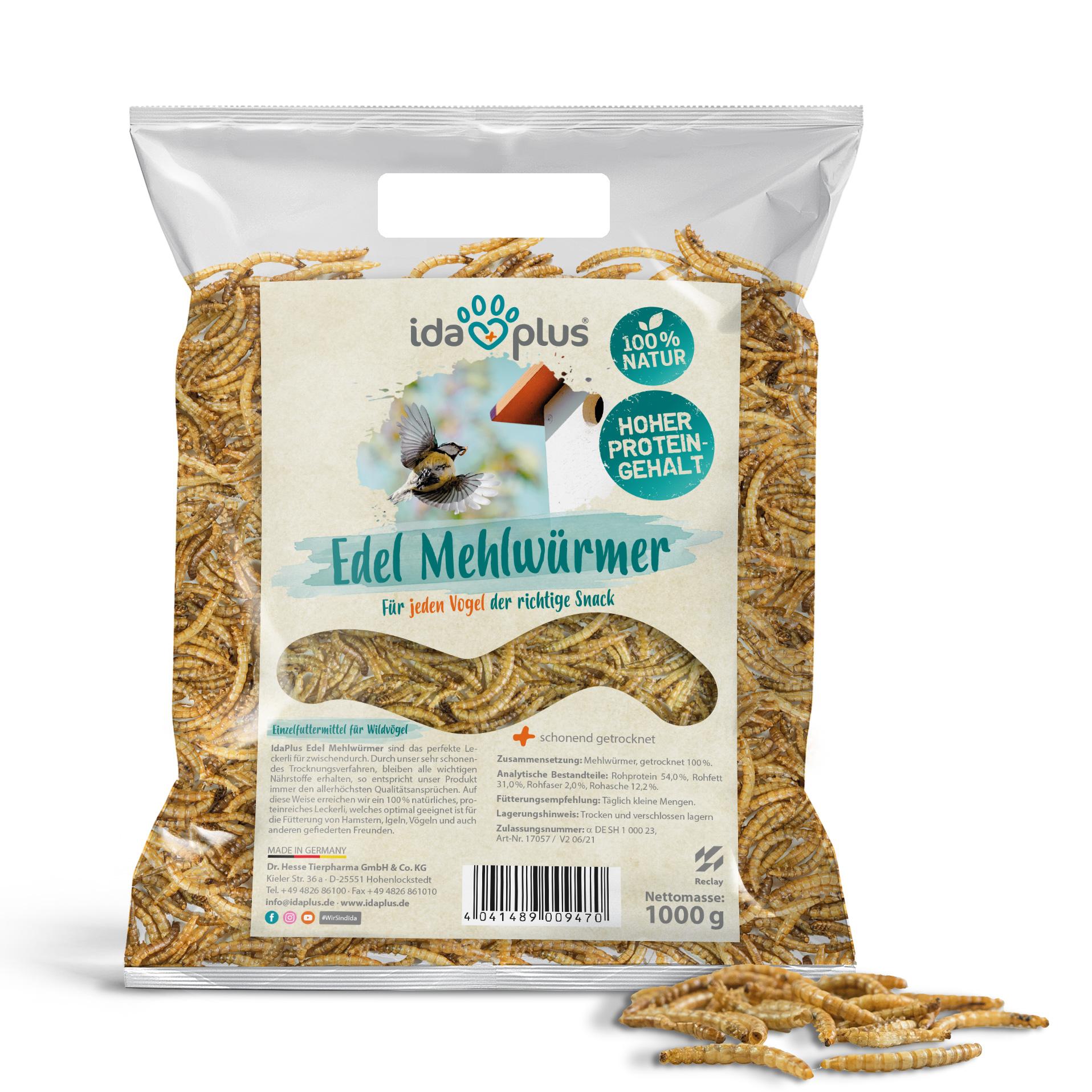 Edel Mehlwürmer getrocknet - Insekten Snack für Wildvögel - 1000g