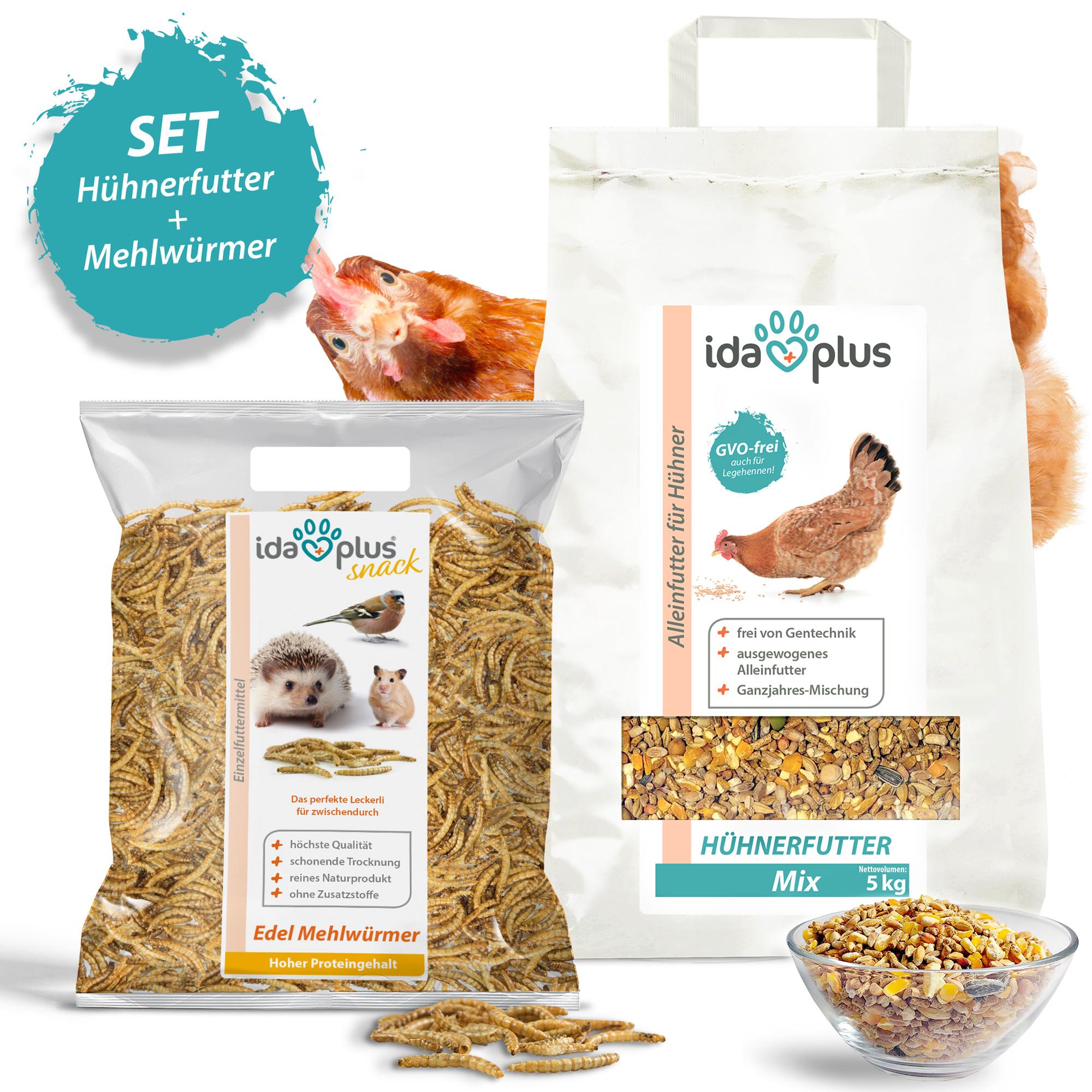 Hühnerfutter + Mehlwürmer - Ausgewogenes Alleinfutter + Edel Mehlwürmer - 5+1 Kg