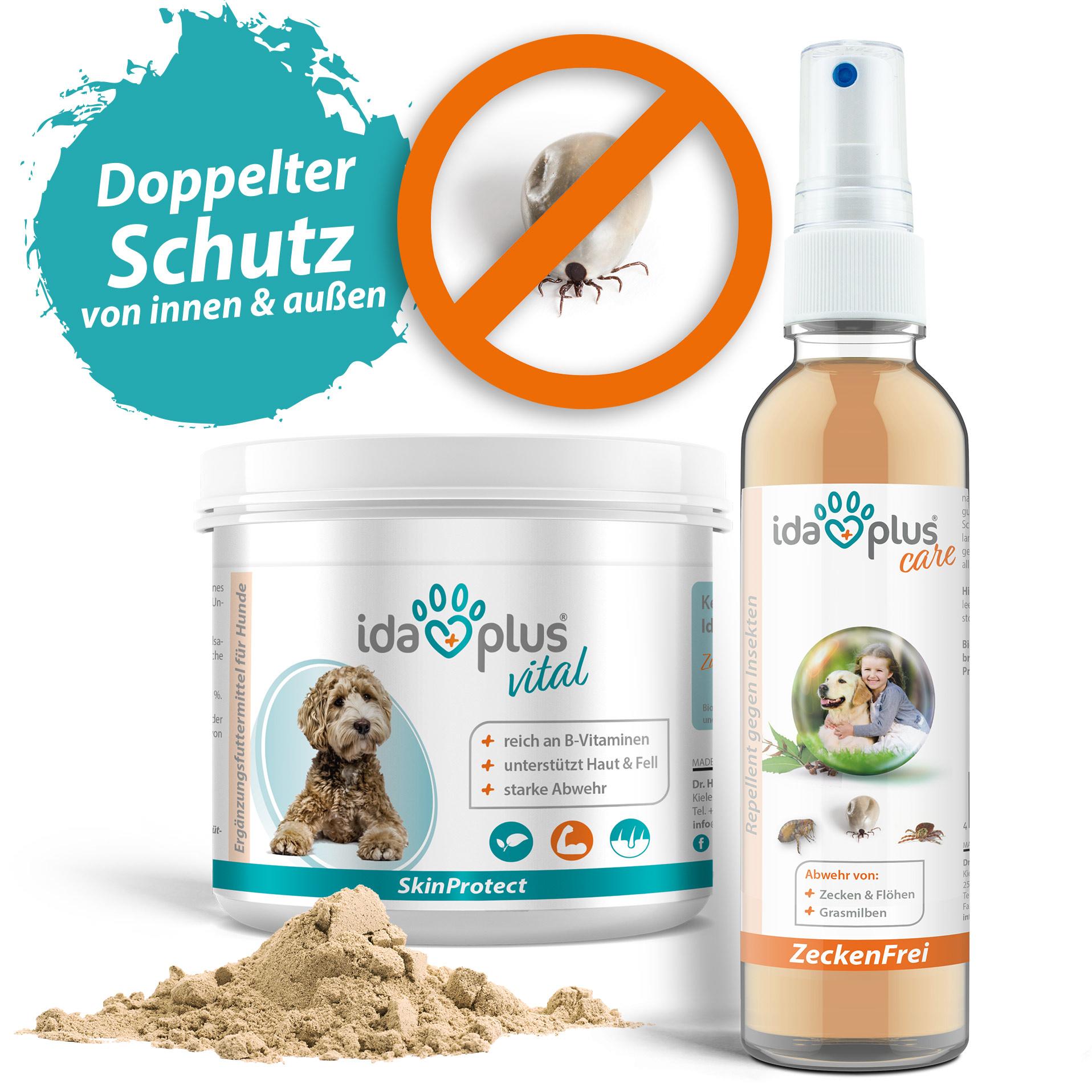 Ida Plus Zeckenschutz Set - Schutz für Hunde - Zeckenfrei 200ml + SkinProtect 250g