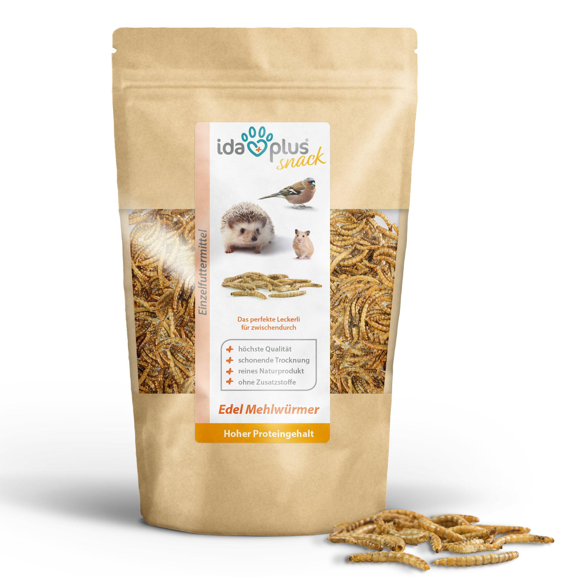 Mehlwürmer getrocknet - Insekten Snack für Igel, Hamster und Reptilien - 100 g