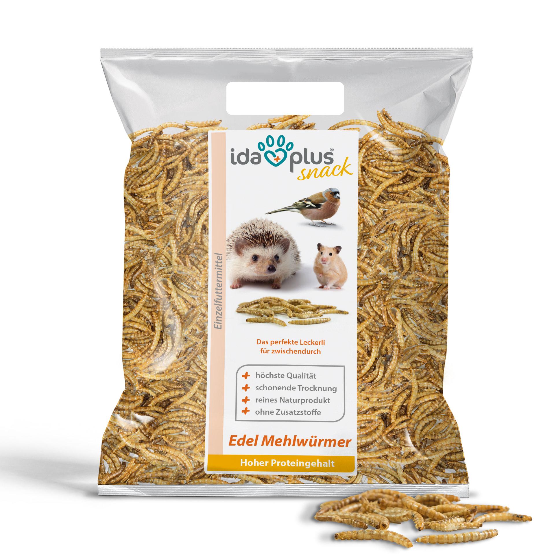 Edel Mehlwürmer getrocknet - Insekten Snack für Igel, Hamster und Reptilien - 1kg