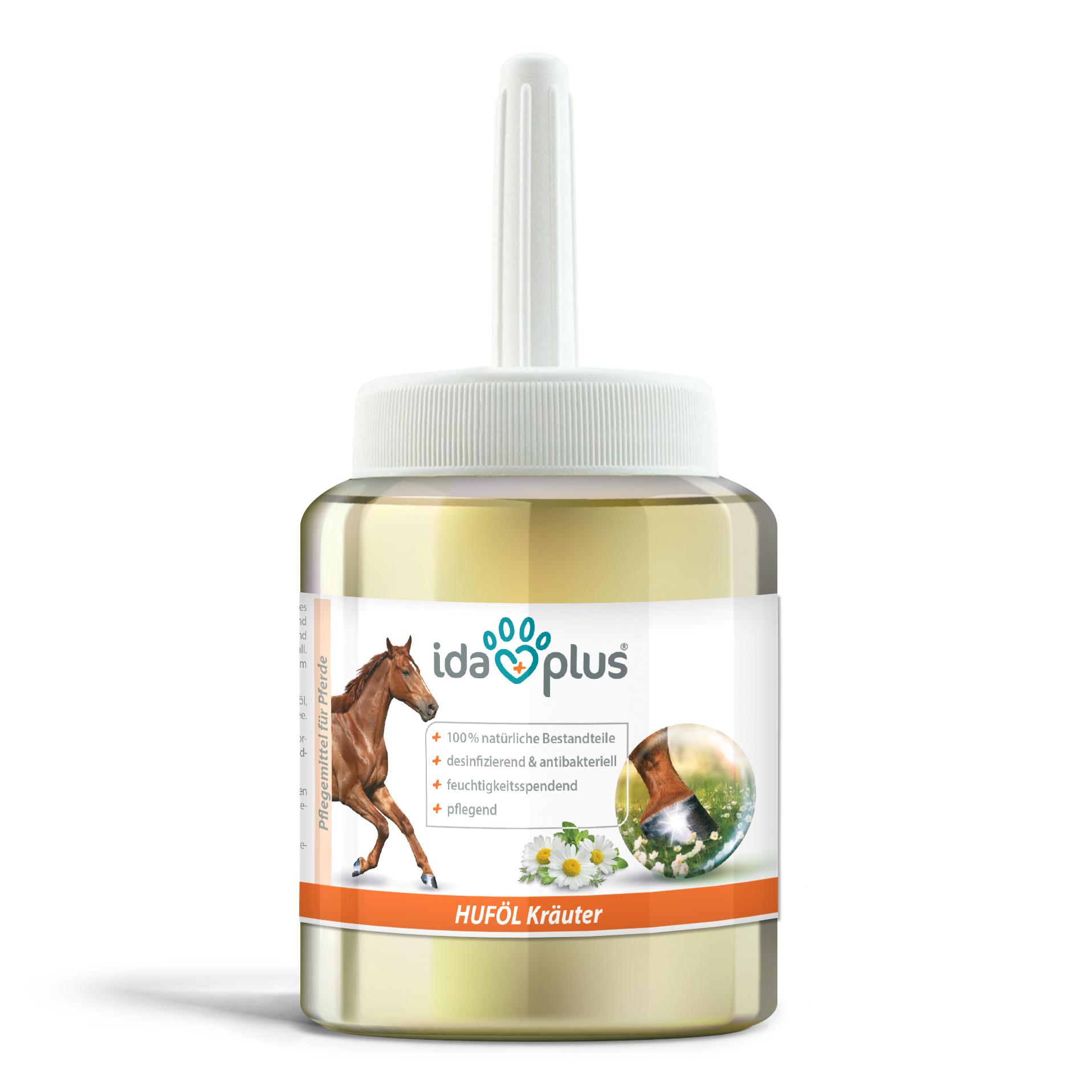 Kräuter Huföl mit Pinsel – Huf Pflege gegen trockene und brüchige Hufe - 500 ml