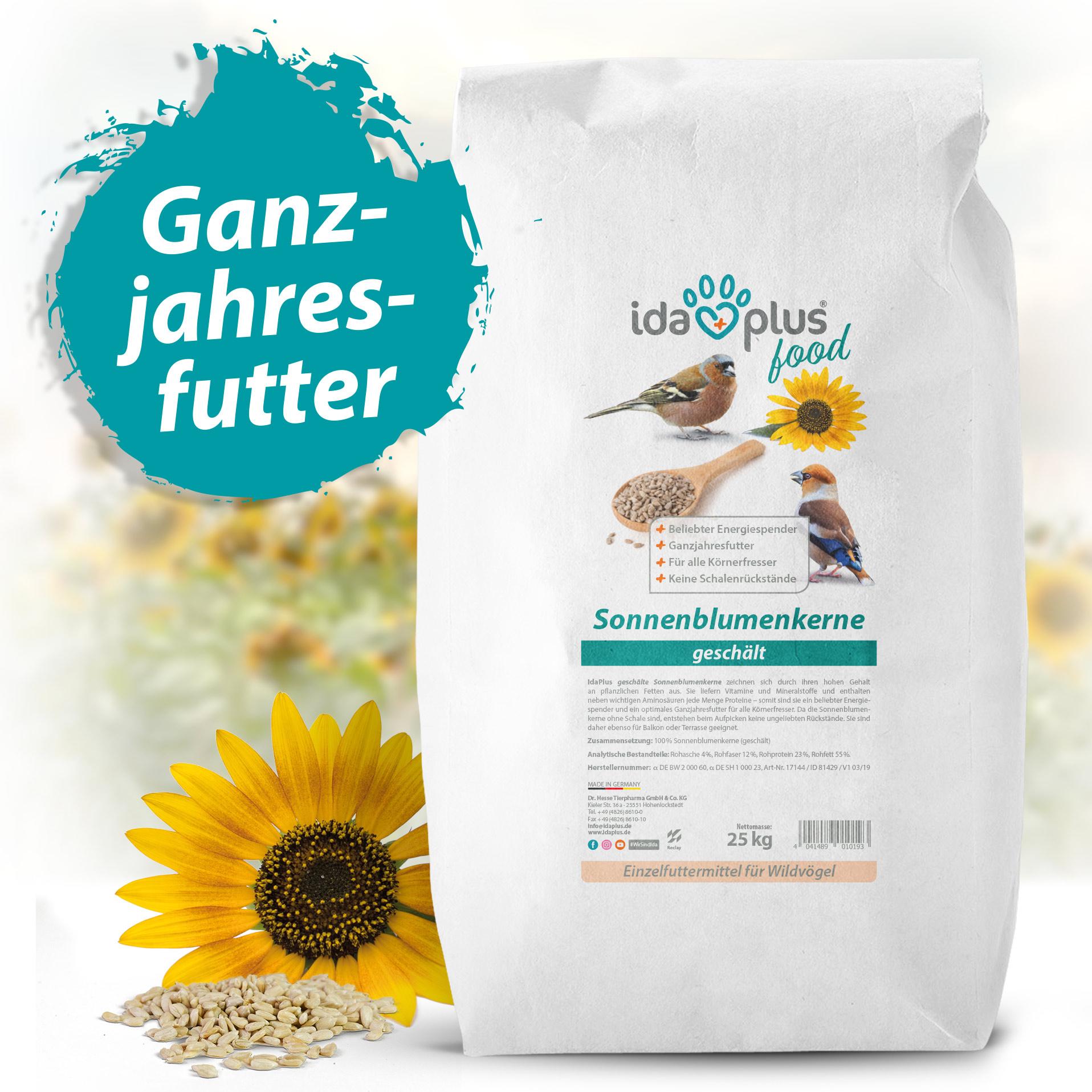 Geschälte Sonnenblumenkerne - Fettreich & Energiereich für Körnerfresser - 25 Kg