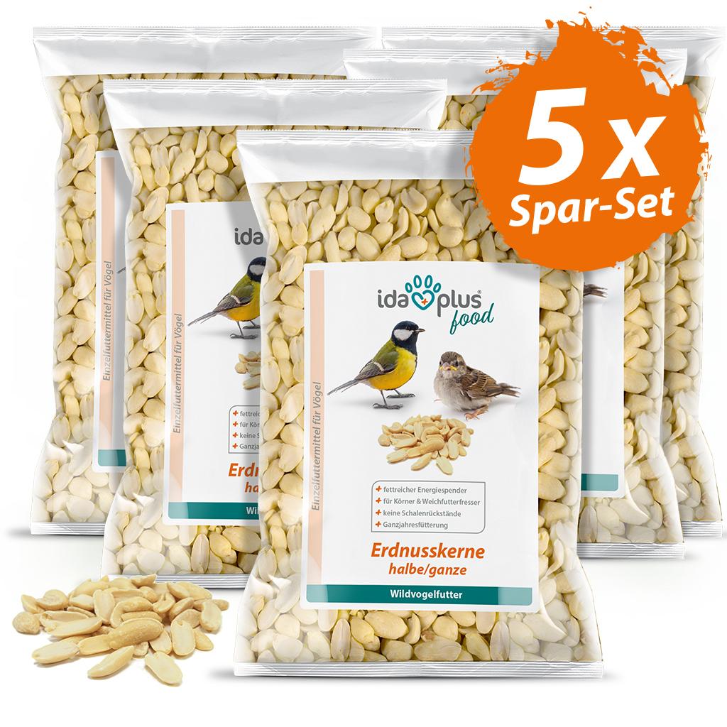 Erdnusskerne – Wildvogelfutter aus halben/ganzen Erdnüssen ohne Haut -  5x 1,5 Kg