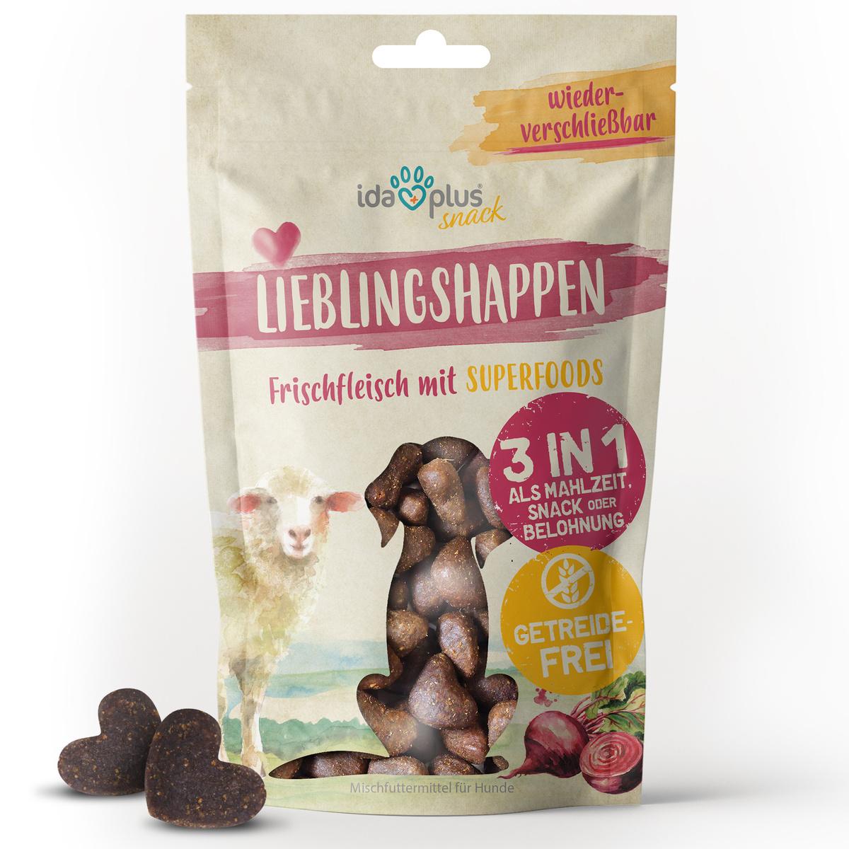 Lieblingshappen - 3 in 1 Hundeleckerli getreidefrei, mit Fisch & Lamm - 250 g