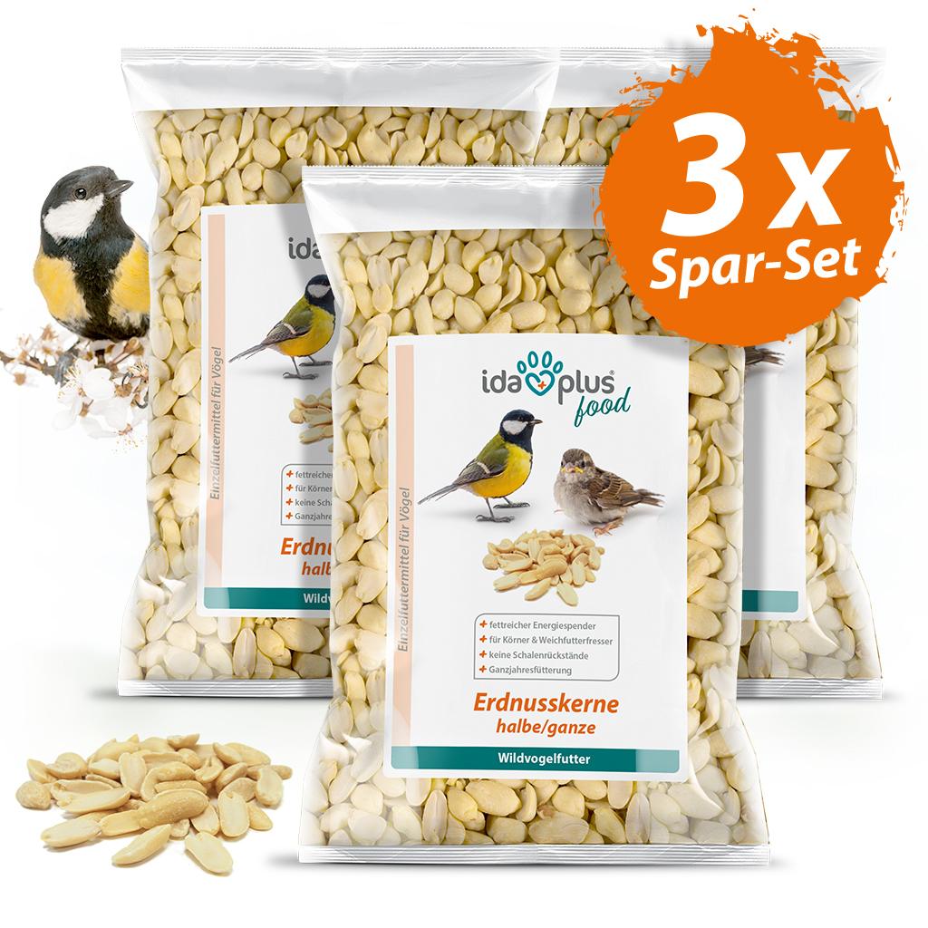 Erdnusskerne – Wildvogelfutter aus halben/ganzen Erdnüssen ohne Haut -  3x 1,5 Kg